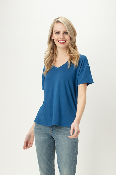 Blue - Womens bamboo tshirt- v-neck - LNBF clothing - Leave nothing but footprints bamboo clothing