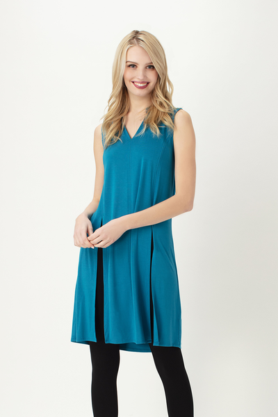 Bamboo clothing Tunic in teal- Front view- Leave no footprints behind clothing