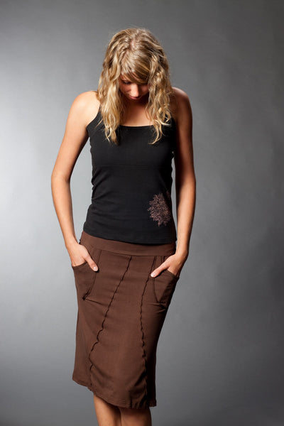 Full model view, bamboo skirt.