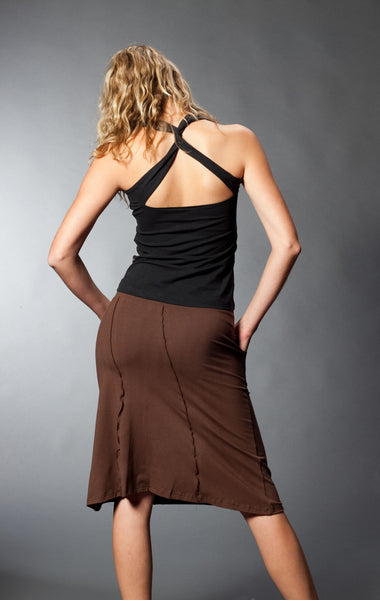 Back view bamboo skirt.