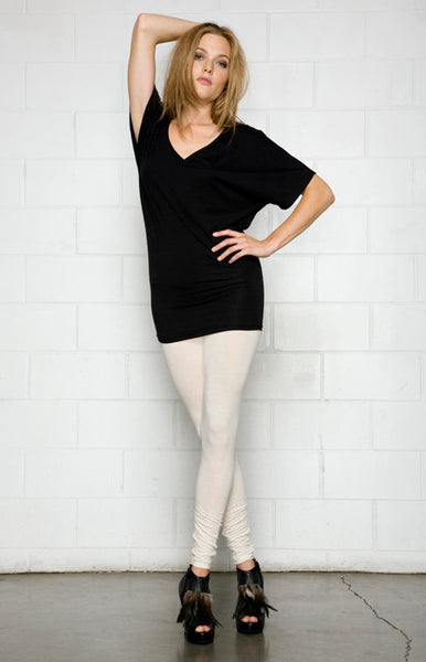 Front view of the bamboo top, bamboo t shirt in black color.