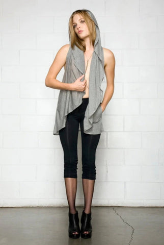 Bamboo legging on model with ruching.  Capri length bamboo legging.