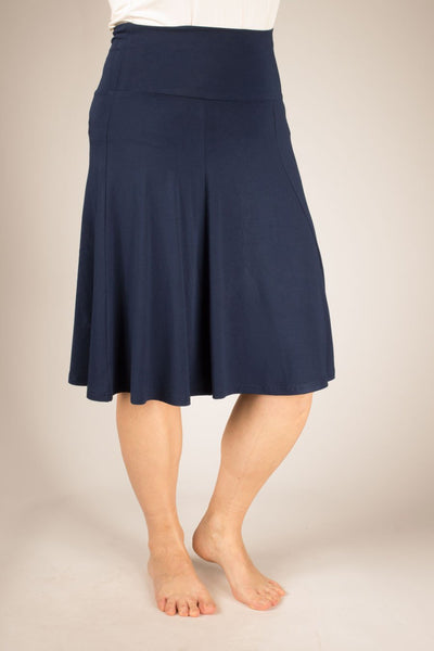 Blue Sky Bamboo Skirt - Bamboo Clothing - navy colour - front view