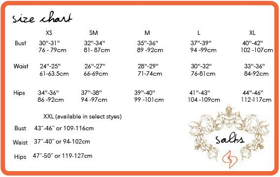 Size chart for bamboo clothing.