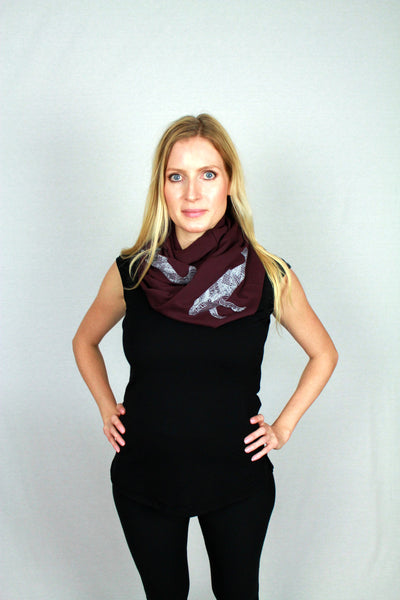 West Coast Whale Printed Bamboo Infinity Scarf
