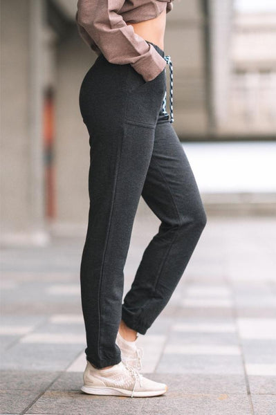 Side view of the Dark Charcoal grey bamboo pant.