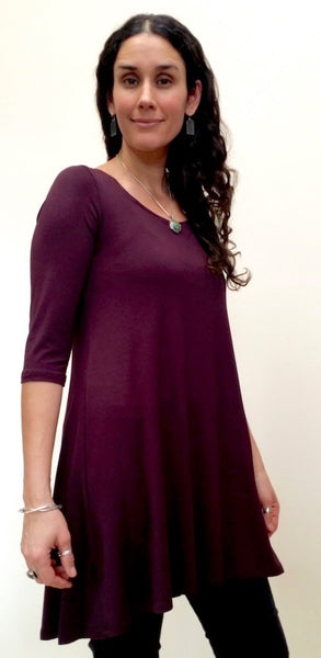 Bamboo Top Tunic length with 3/4 sleeves