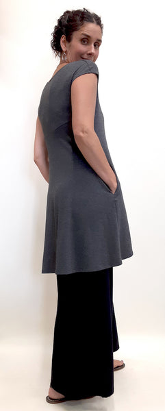 Bamboo top tunic length full back view.