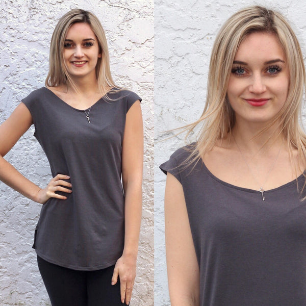 Scoop neck and vneck view of the bamboo t shirt.