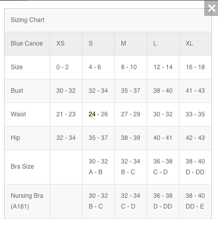 Blue Canoe bra size chart, size guide, Blue Canoe Clothing sizes