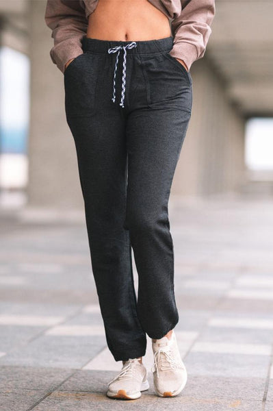 Front view of the dark grey charcoal bamboo pant.
