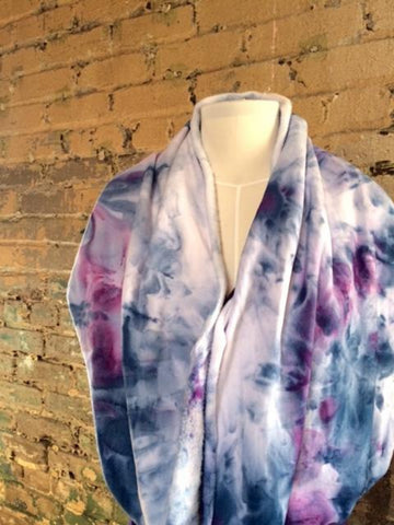 Blue and lilac bamboo infinity scarf.
