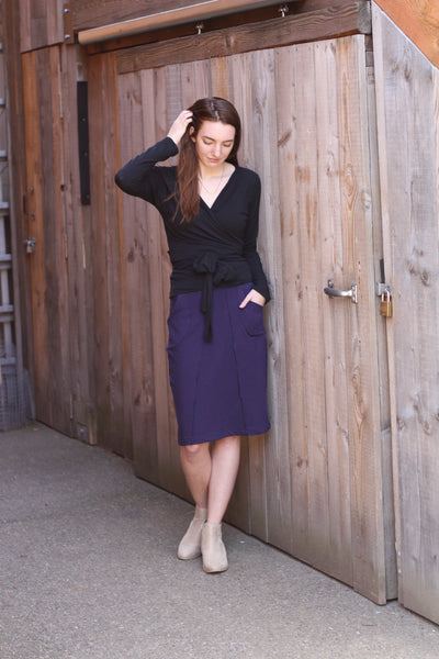 Wood backdrop and the lila bamboo wrap top and bamboo skirt.