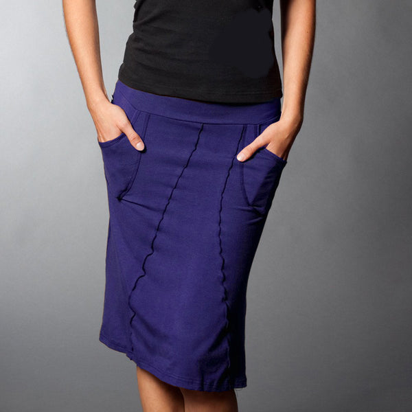 Plum bamboo skirt with pockets, front view.