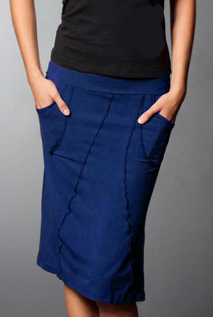 Twilight blue bamboo skirt with pockets, front view.