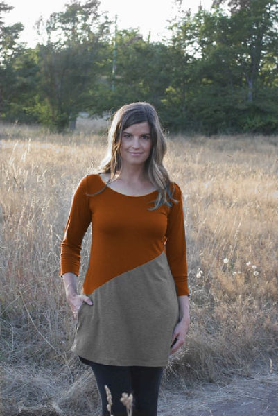 Rust Earth and Charcoal example of the Meggy Bamboo tunic