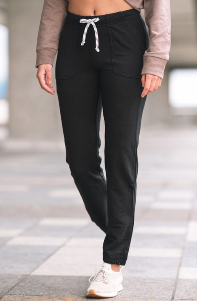 View of the bamboo pant in black.