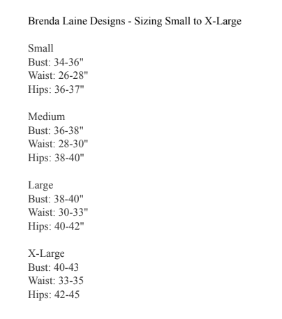 Size Chart for the bamboo dress by Brenda laine.