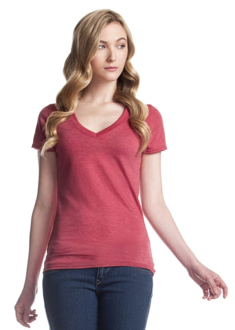 Heather red bamboo t shirt v neck cut.