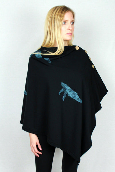 Whale Print Bamboo Fleece Poncho Sweater