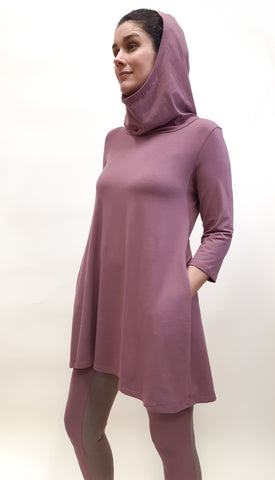 Bamboo Cotton 3/4 Sleeve Hooded Tunic