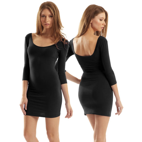 Scoop Neck Bamboo Organic Cotton Mini Dress - Black