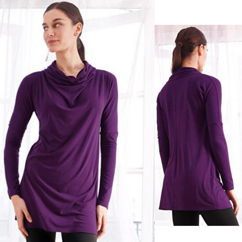 Bamboo Draped Cowl Neck Tunic