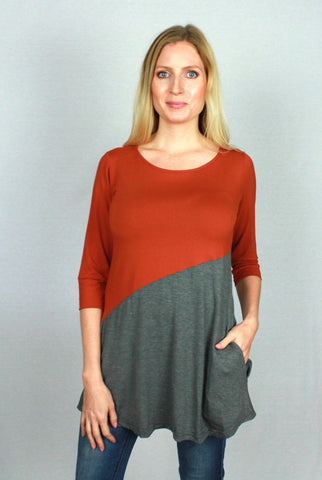 Bamboo tunic dress in burnt orange colour.