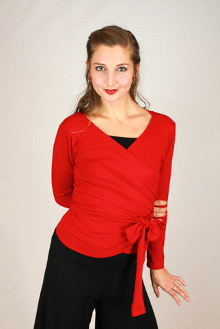 Bamboo wrap top in red front view.
