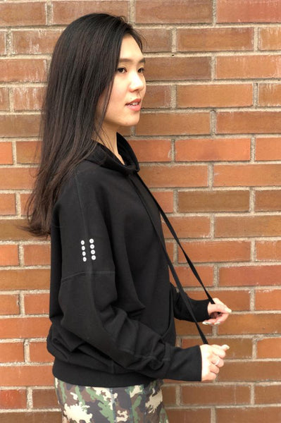 Side view bamboo fleece hoodie