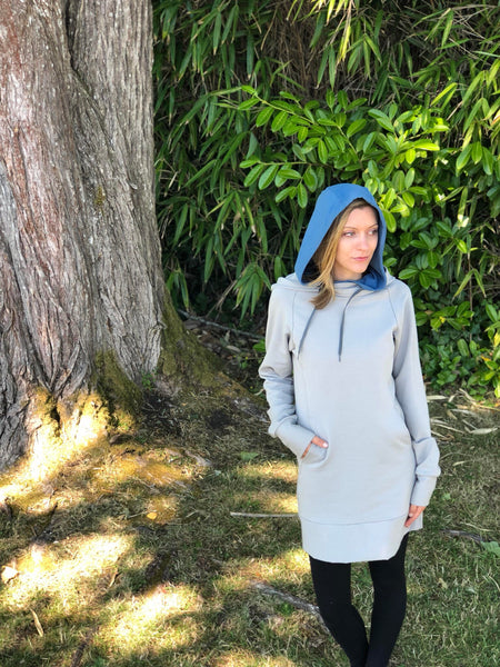 Contrast hood up on the bamboo hemp hoodie dress.