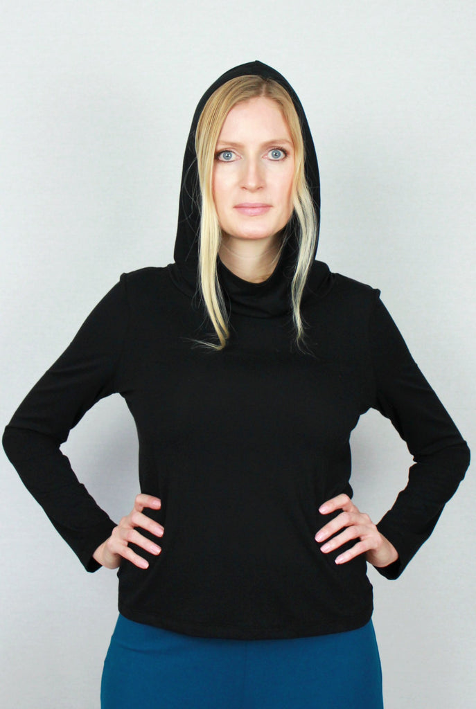 Hooded Bamboo Sweater Black