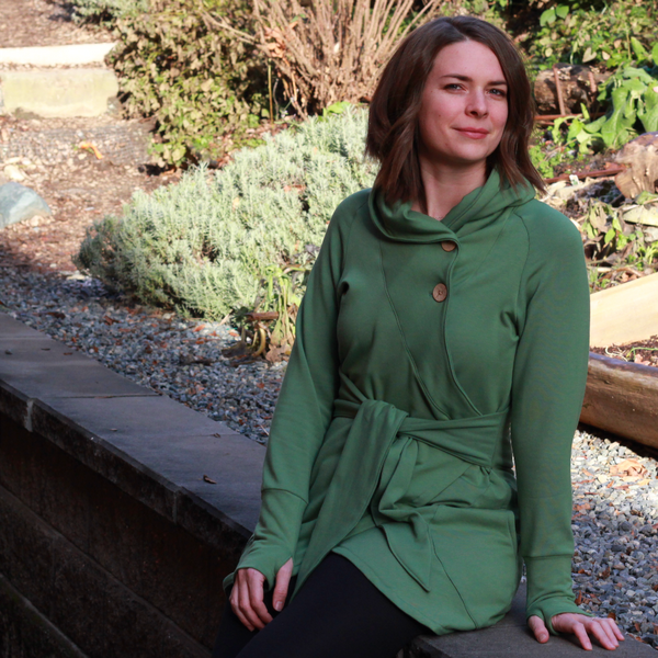 Grass green colour of the bamboo wrap sweater in bamboo fleece.