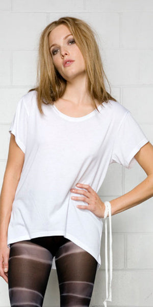 White bamboo t shirt for women.