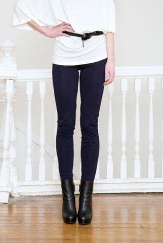 Merino Wool leggings front view in Navy.