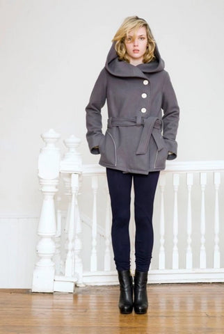 Organic Wool Sash Coat - Short