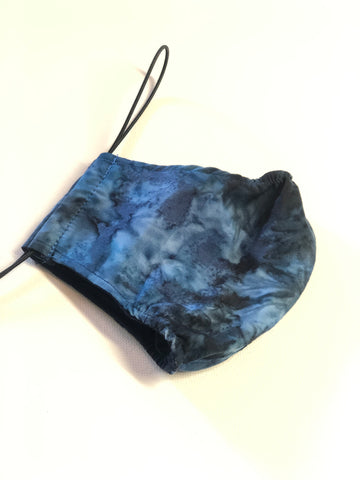 Bamboo Lined Cotton Face Mask - Dark Blue Tie Dye