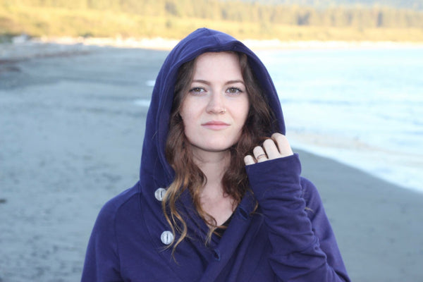Close up hood view of the bamboo wrap sweater in bamboo fleece.