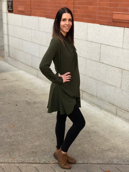 Side view of the bamboo wrap sweater in forest green.