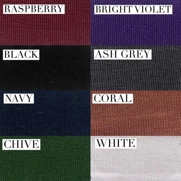 Colour guide for the bamboo t shirt.