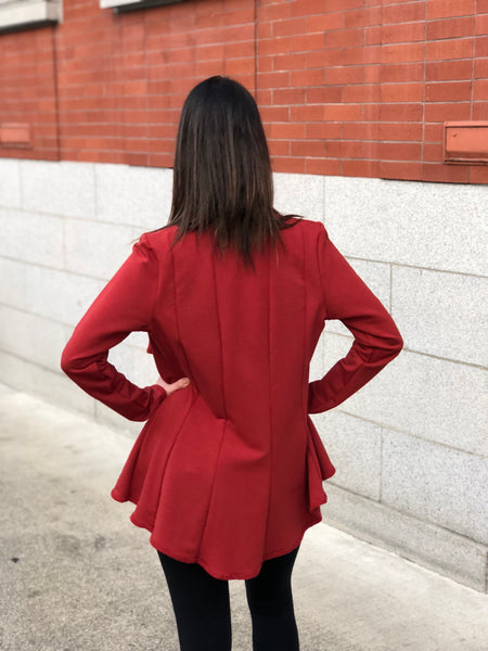 Full back panel view bamboo jacket in red bamboo fleece.