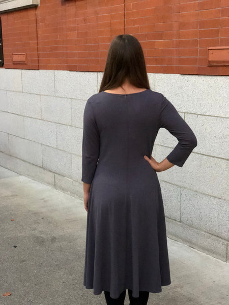 Back view of the classic bamboo dress in grey.