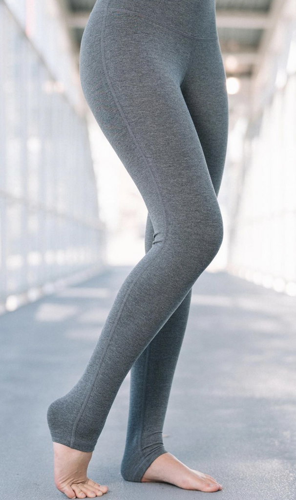 Charcoal bamboo legging in french terry front view.