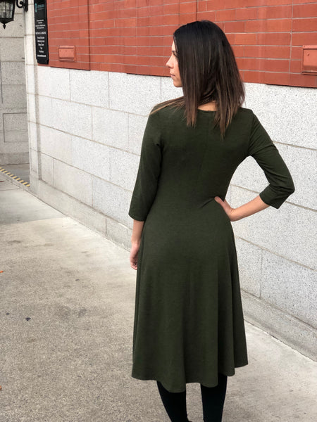 Back view of the classic bamboo dress in Heather Forest Green.