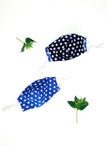 Handmade Cotton Face Mask - Blue Dots Print