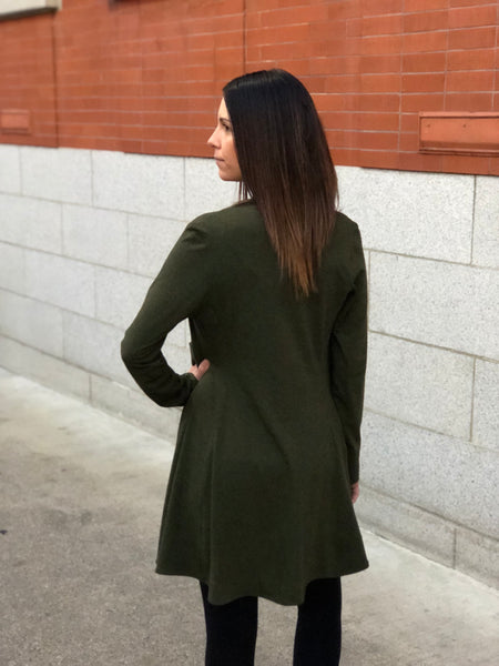 Back view of the bamboo wrap sweater in forest green.