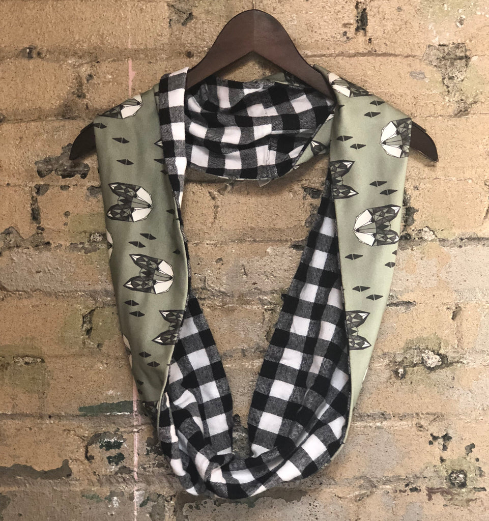 Organic Cotton Fox and Flannel Infinity Scarf