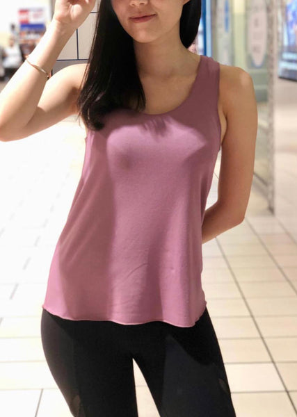 Bamboo top in Rose color in the racerback cut.
