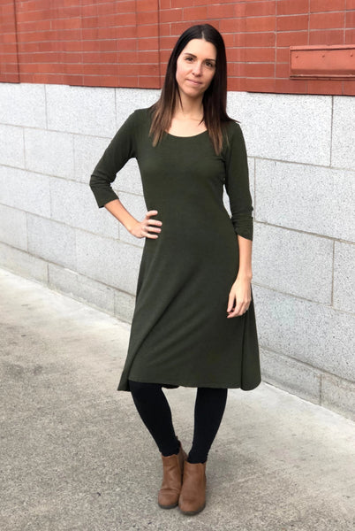 Classic bamboo dress in Heather Forest Green.