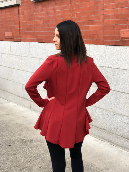 Side back view of the panel bamboo jacket.